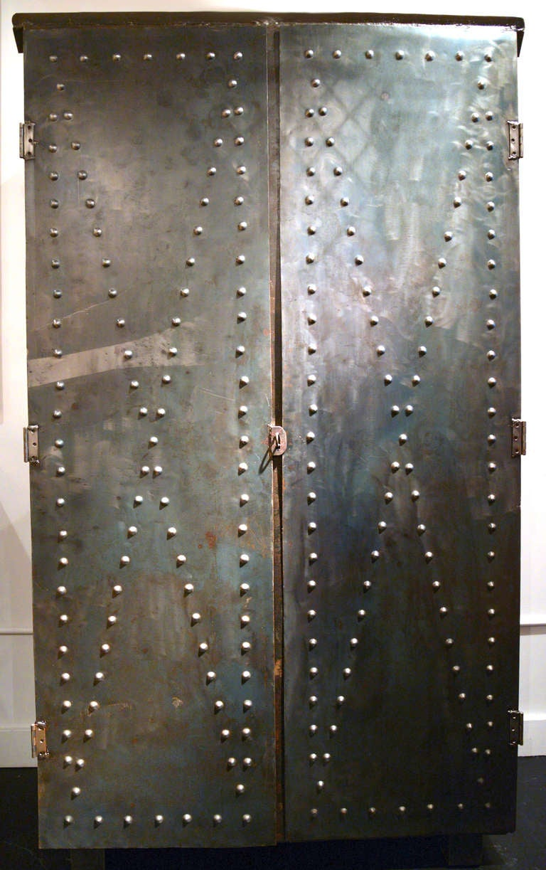 Steel Cabinet With Textured Doors At 1stdibs