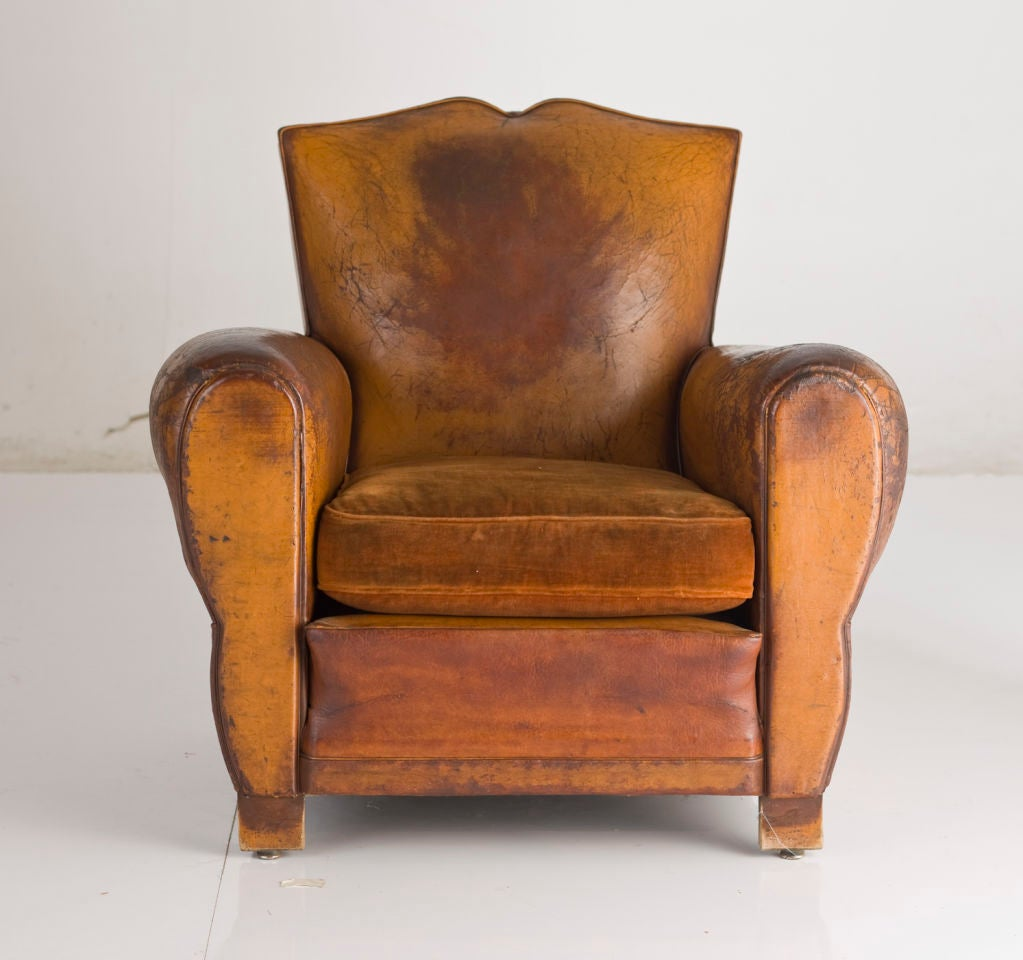 French Deco Leather Club Chair At 1stdibs