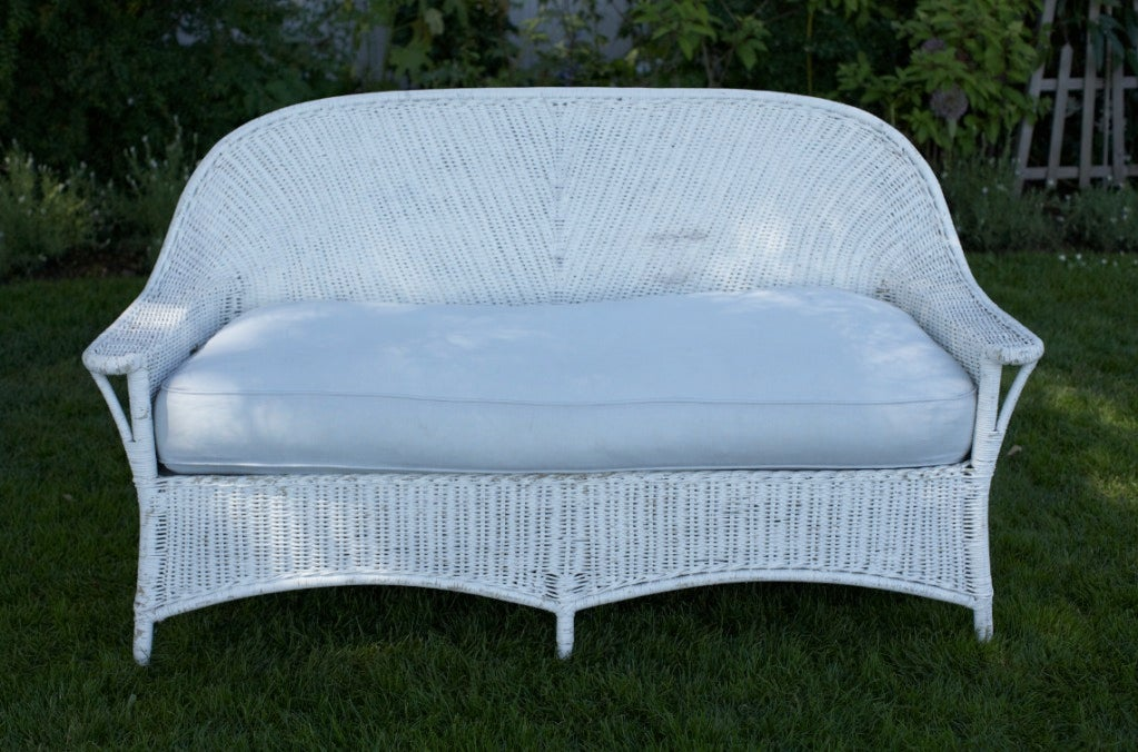 The Perfect White Wicker Sofa... At 1stdibs