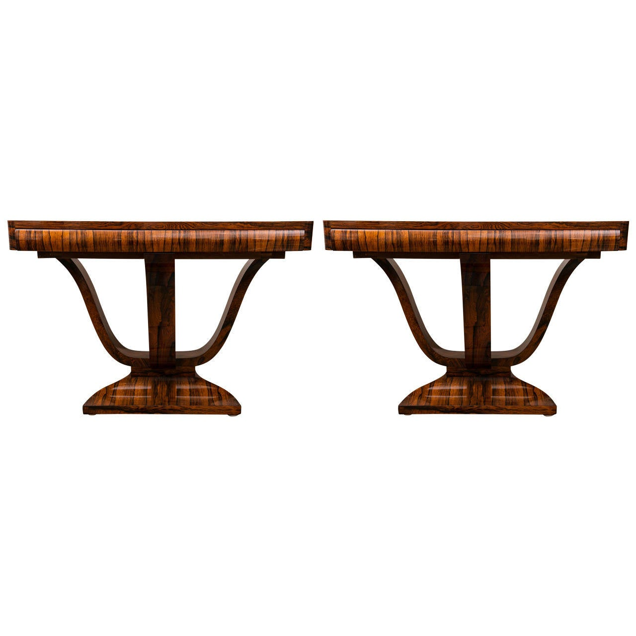 pair of striking french art deco console tables at 1stdibs. Black Bedroom Furniture Sets. Home Design Ideas