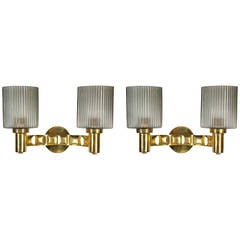 Pair of Murano Brass Wall Lights