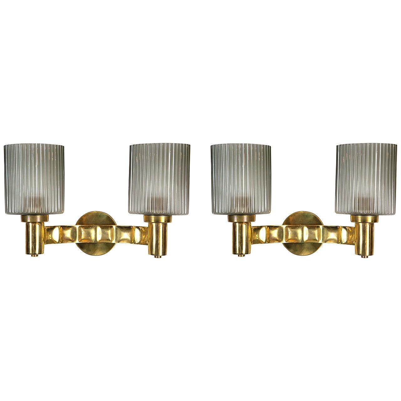 Pair of Murano Brass Wall Lights