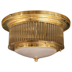 Vintage Italian Brass Ceiling Fixture by Venini, Signed/ 2 available