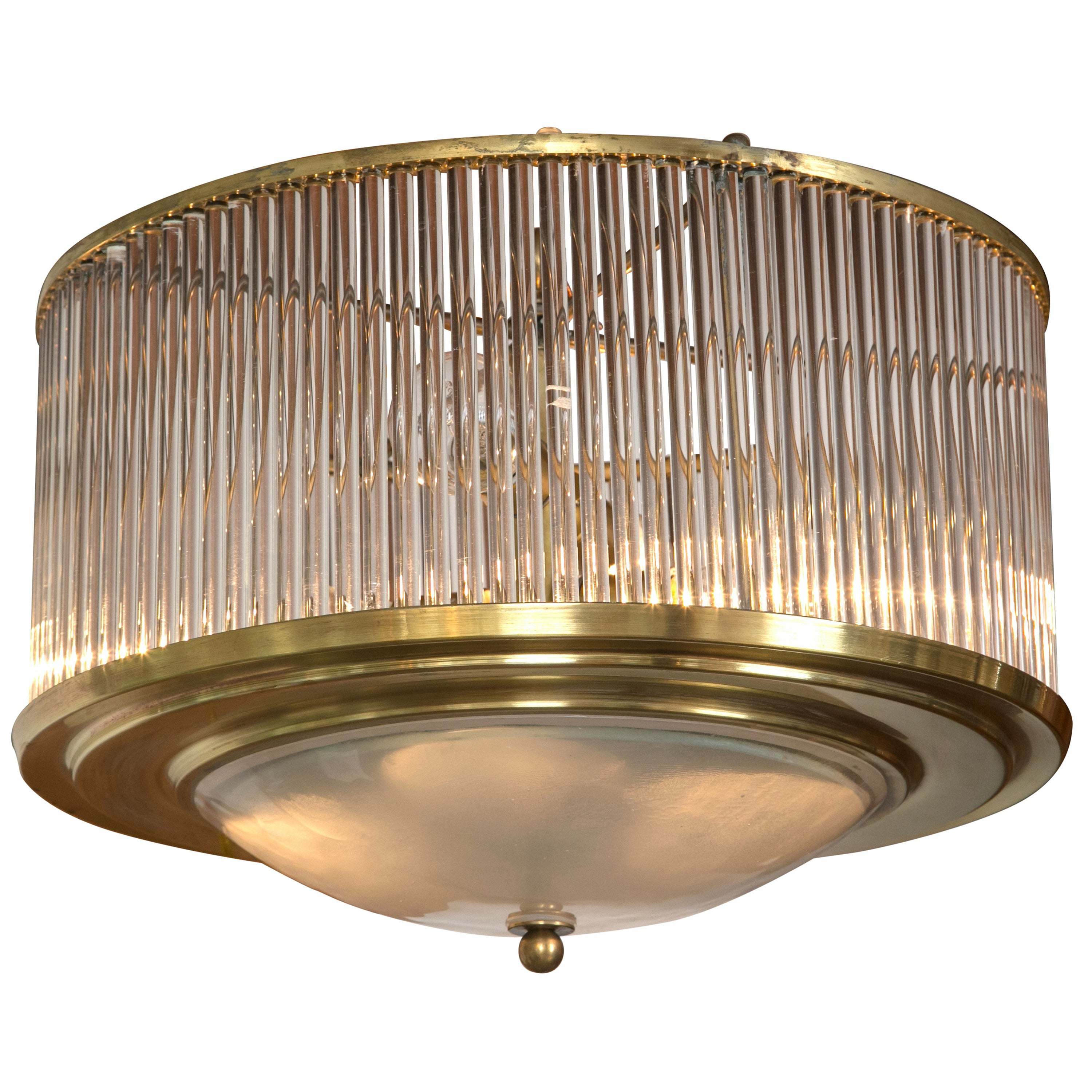 Larger Vintage Brass Straw Ceiling Fixture, stamped Venini/2 available