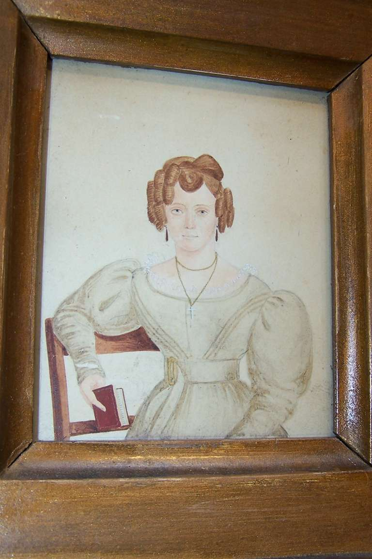 British Victorian Watercolor Portrait Unconventional Lady Painted by M King Signed Dated For Sale