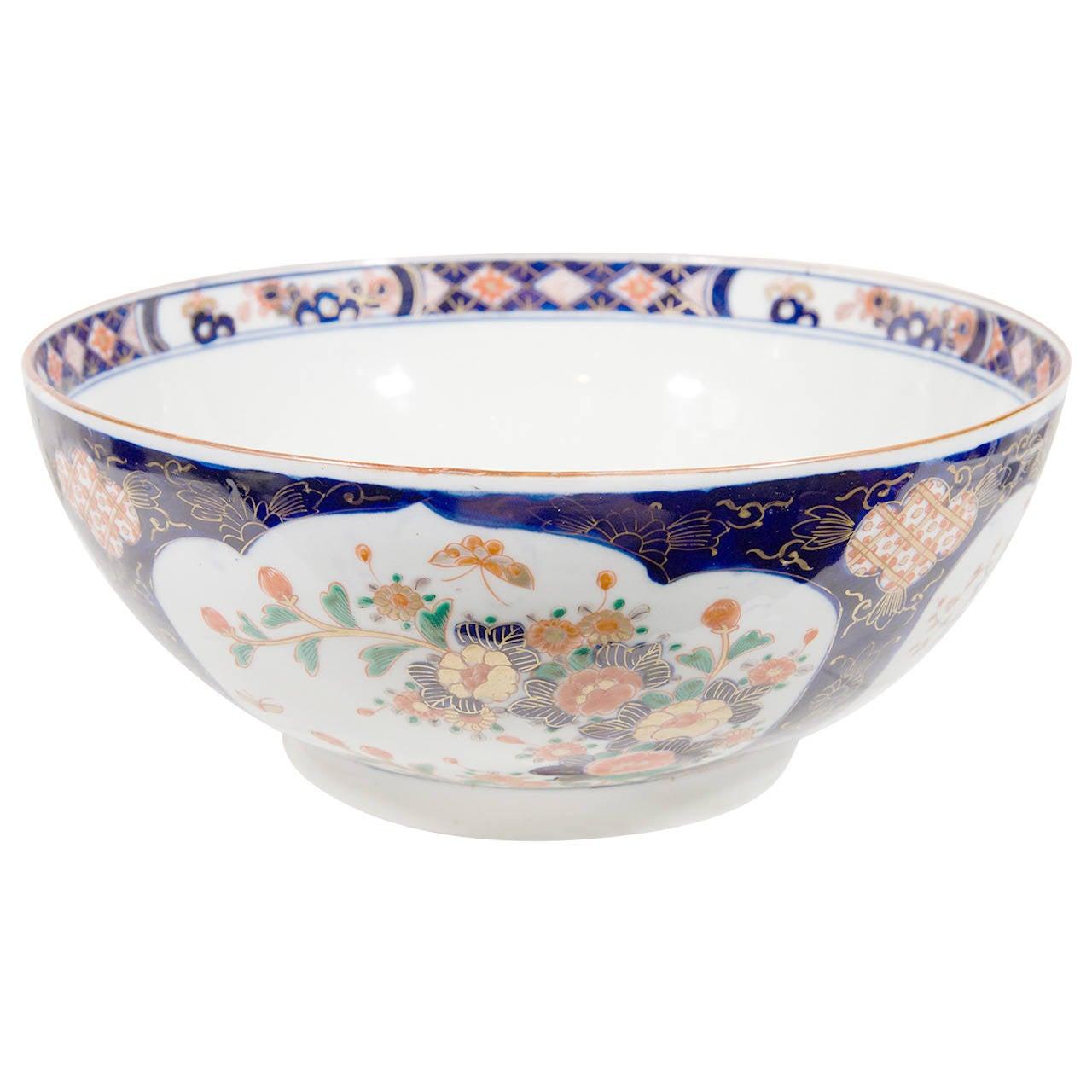 Antique Imari Porcelain Punch Bowl at 1stdibs