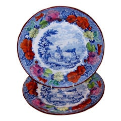 """Set of Eleven Mason's Pearlware Dinner Dishes in the """"Drover"""" Pattern"""