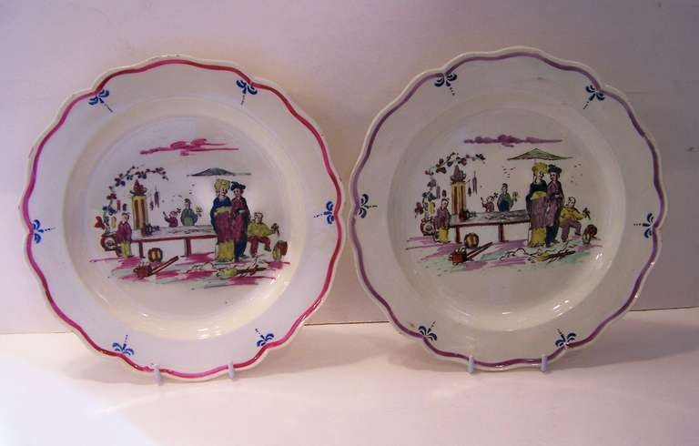 Pair of 18th Century Creamware Dishes with Scenes 2