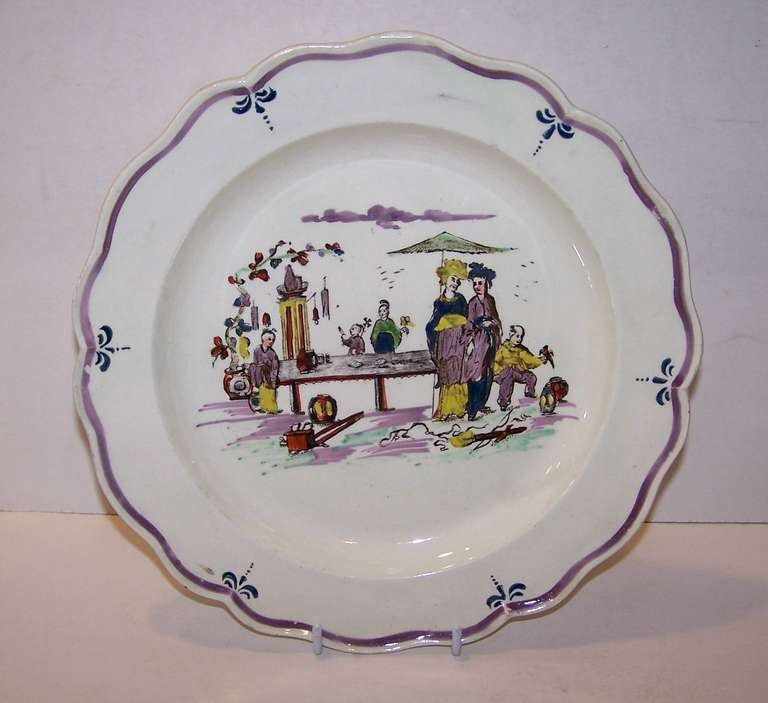 Pair of 18th Century Creamware Dishes with Scenes 4
