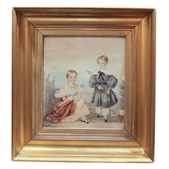 Antique Watercolor Painting Two Children