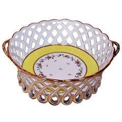 Antique French Porcelain Basket