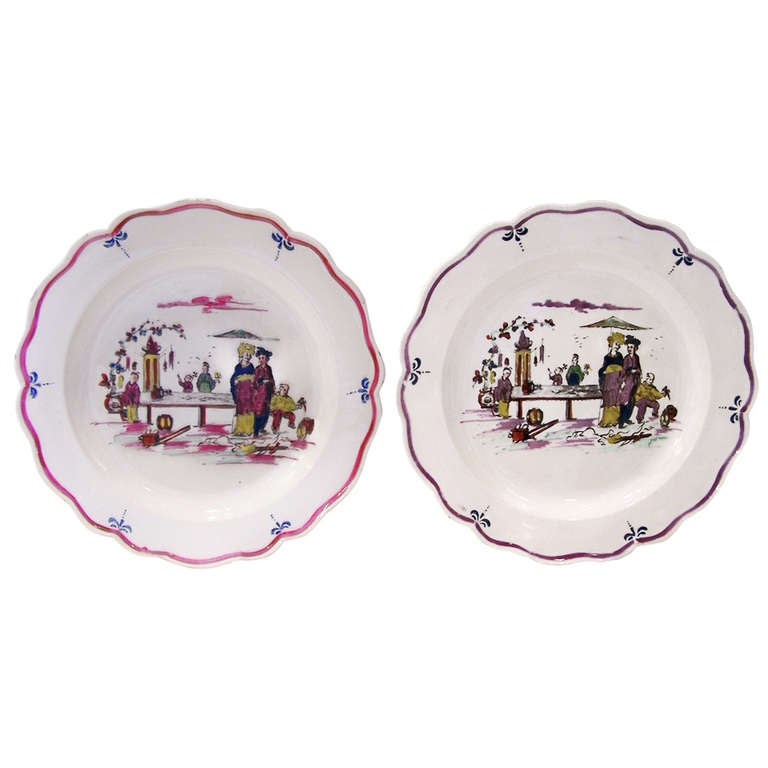 Pair of 18th Century Creamware Dishes with Scenes 1