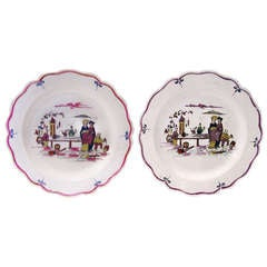Pair of 18th Century Creamware Dishes with Scenes