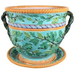 Large Minton Antique Majolica Planter with Green Leaves on a Turquoise Ground