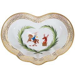 A Pair of Worcester Armorial Dishes with Greek Key Border