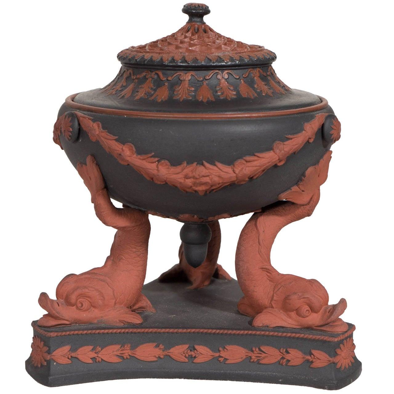 Wedgwood Egyptian Revival Black Basalt and Rosso Antico Incense Burner For Sale