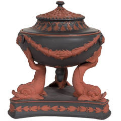 Antique Wedgwood Black Basalt and Rosso Antico Incense Burner