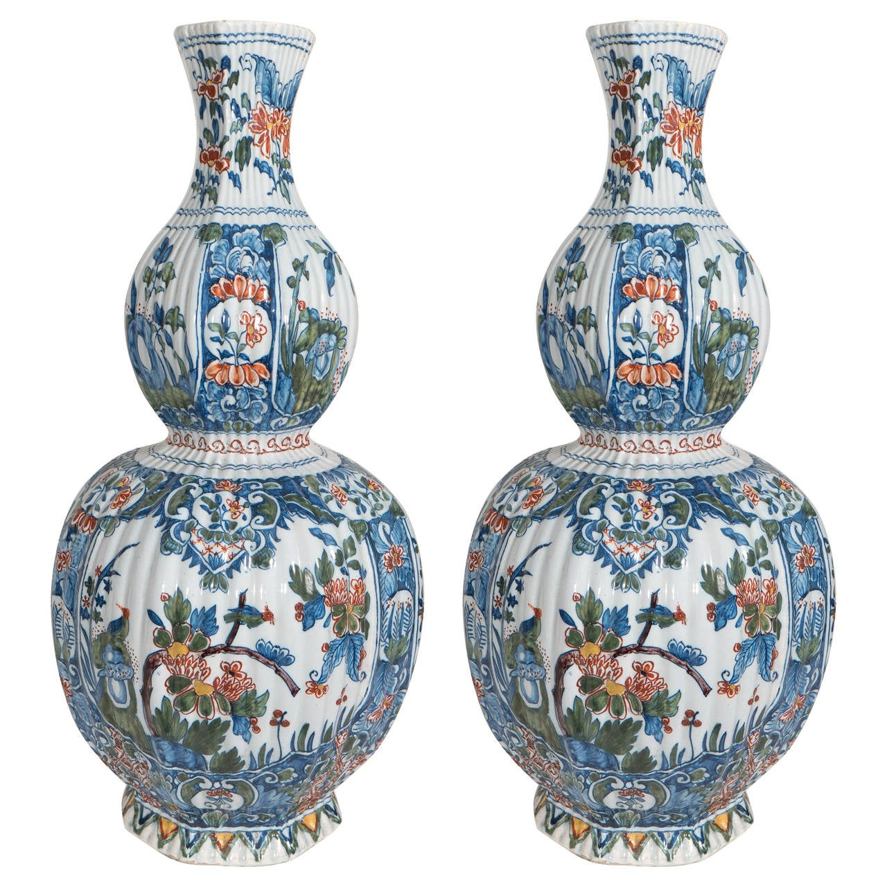 Pair of polychrome delft vases in the kashmir palette at 1stdibs pair of polychrome delft vases in the kashmir palette for sale reviewsmspy