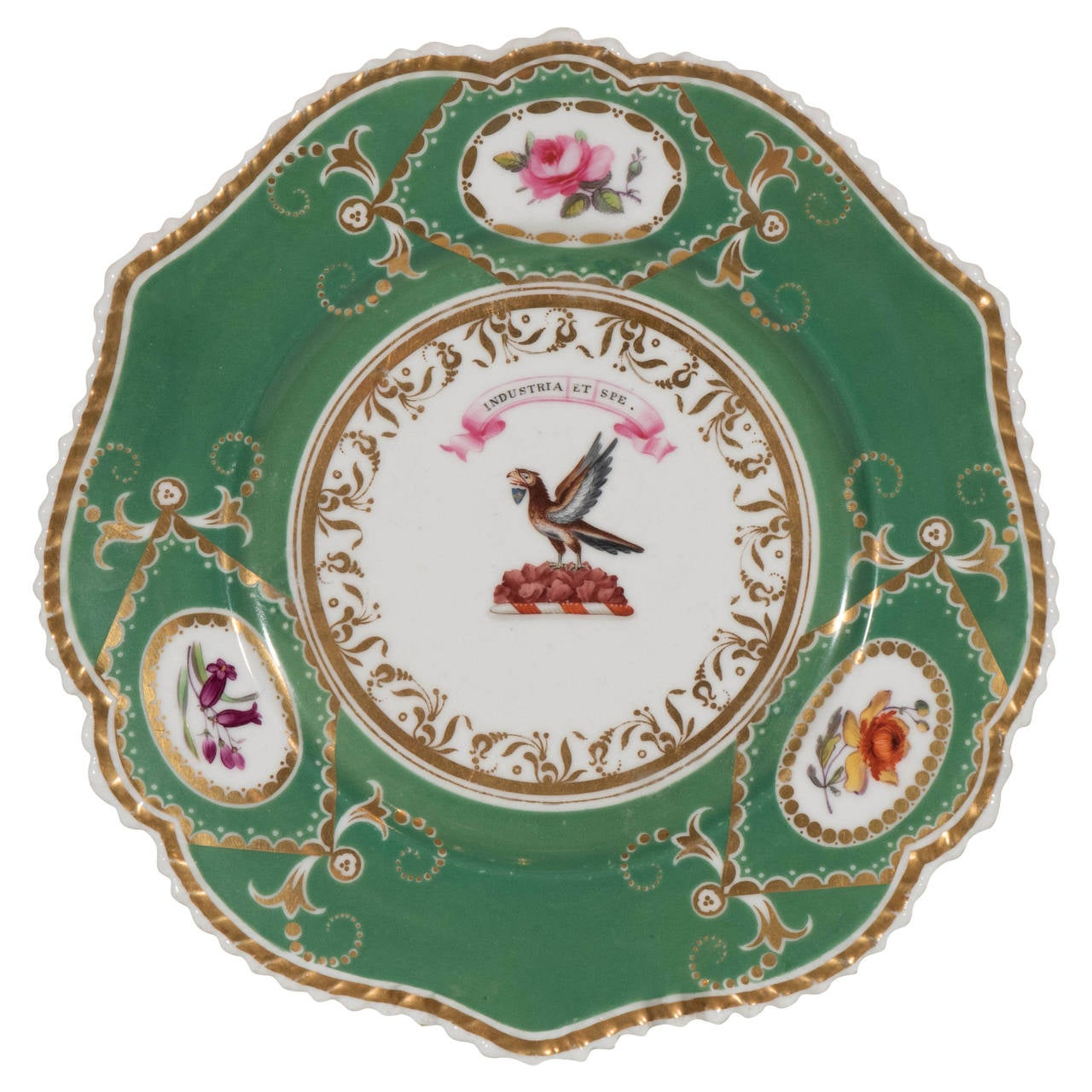 """Armorial Dish Motto """"By industry and Hope"""" above an Eagle For Sale"""