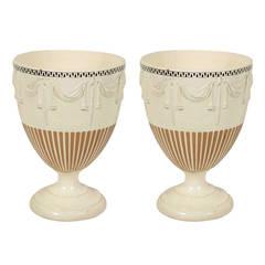 Pair of 18th Century Neoclassical Creamware Urns