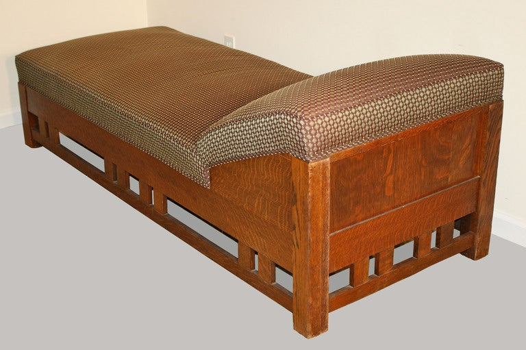 arts and crafts mission tiger oak chaise or daybed at