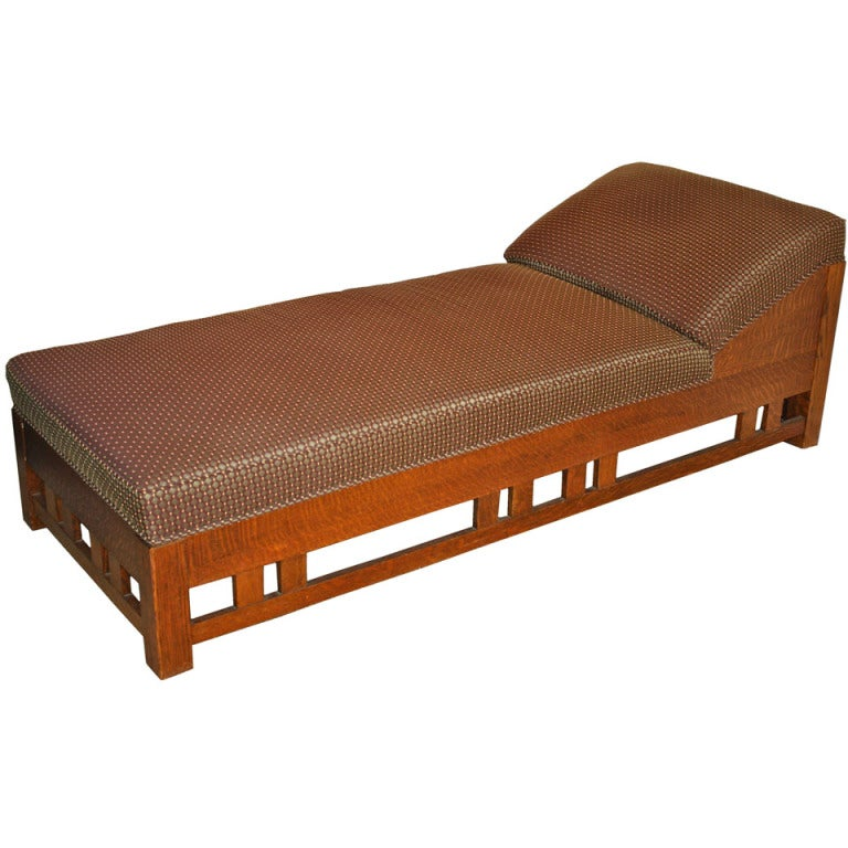 Arts and crafts mission tiger oak chaise or daybed at for Chaise or daybed