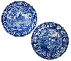 Two Blue And White Pearlware Scenic Plates - Boston And Warwickshire