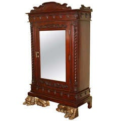 Thai Lion Sentry Mirrored Cabinet