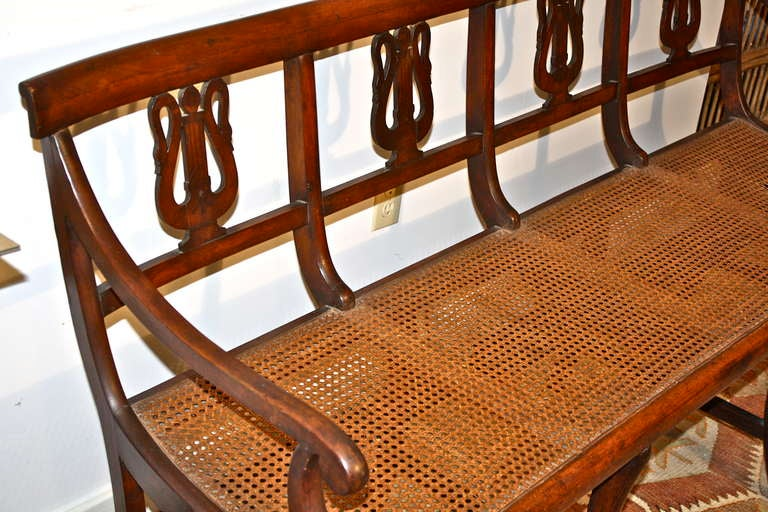 Cane Italian Swan Lyre Klismos Settee and Side Chair For Sale