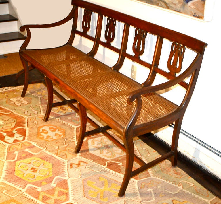 Neoclassical Italian Swan Lyre Klismos Settee and Side Chair For Sale
