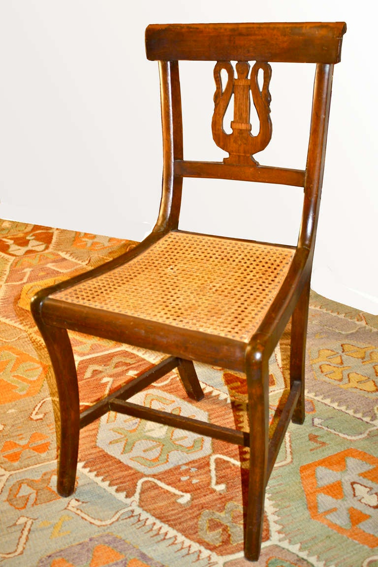 Italian Swan Lyre Klismos Settee and Side Chair In Good Condition For Sale In Woodbury, CT