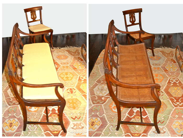 Italian Swan Lyre Klismos Settee and Side Chair For Sale 3