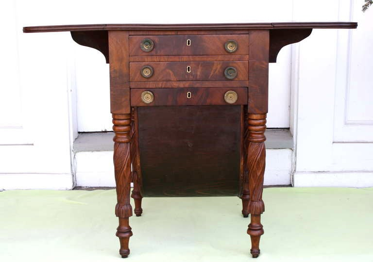 Boston Classical Drop-Leaf Sewing Table 2