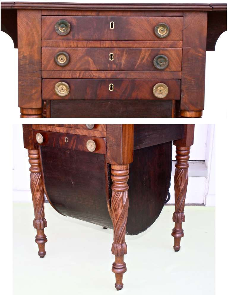Boston Classical Drop-Leaf Sewing Table 6