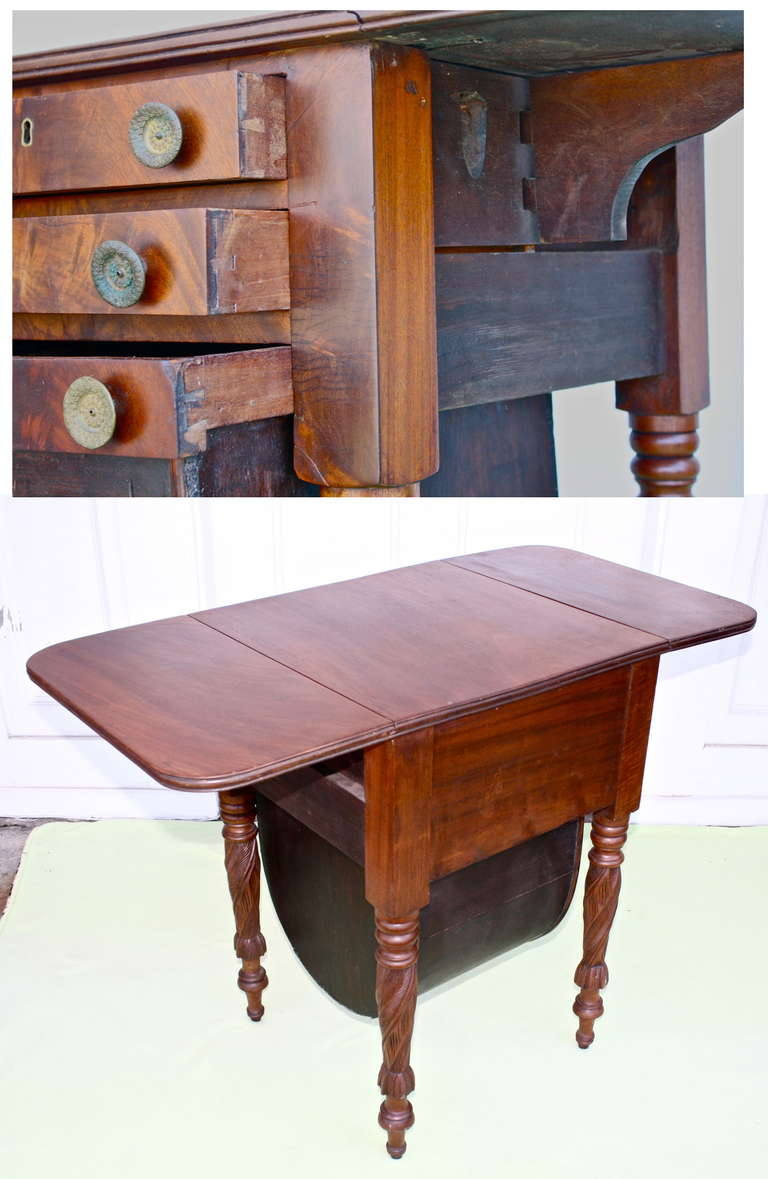 Boston Classical Drop-Leaf Sewing Table 9