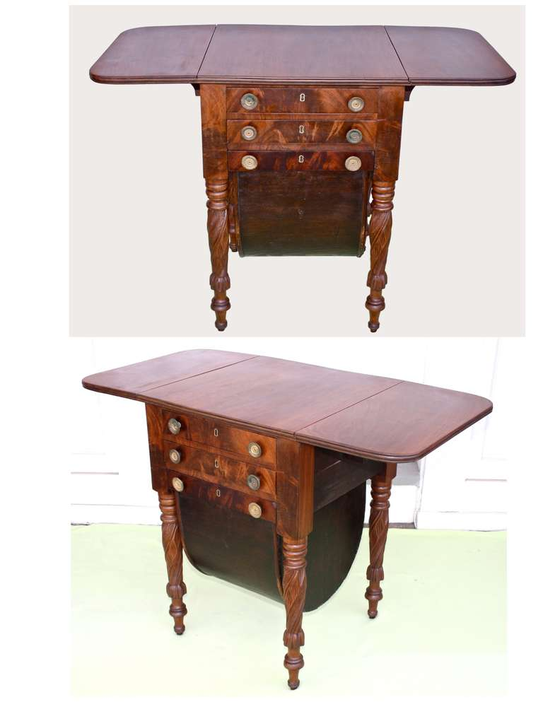 Boston Classical Drop-Leaf Sewing Table 8