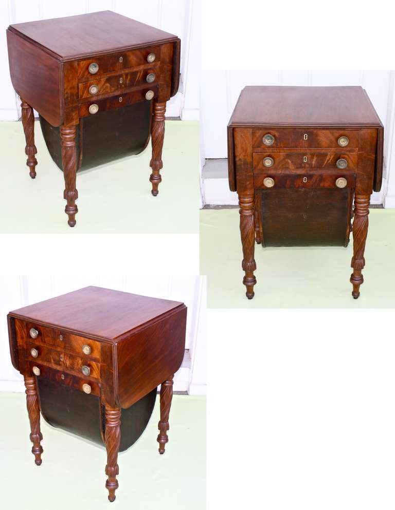 Boston Classical Drop-Leaf Sewing Table 4