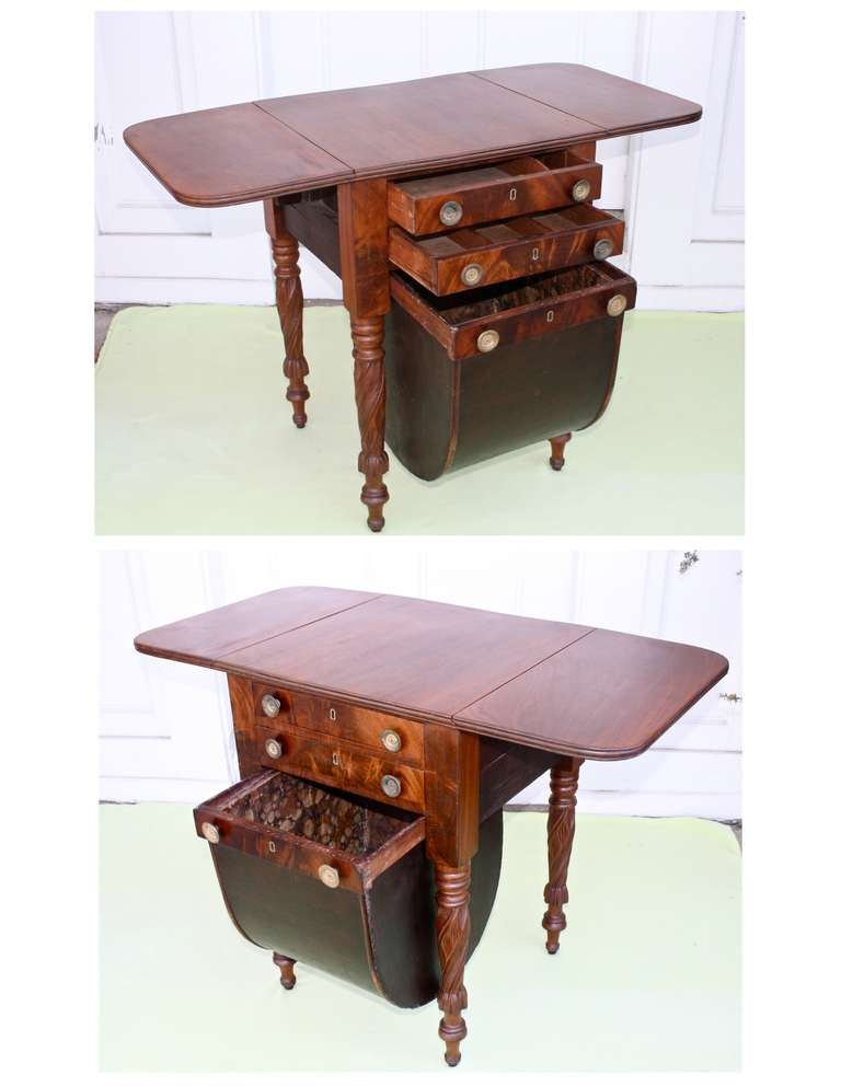 Boston Classical Drop-Leaf Sewing Table 3