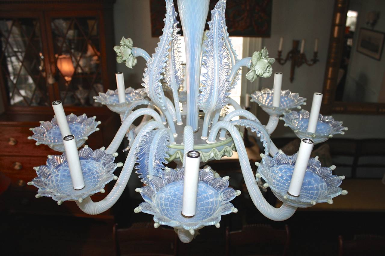 Hand-Crafted 19th Century Murano Glass 'Ciocca' Chandelier For Sale