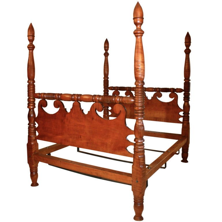 Sheraton Tiger Maple Four Poster Bed 1