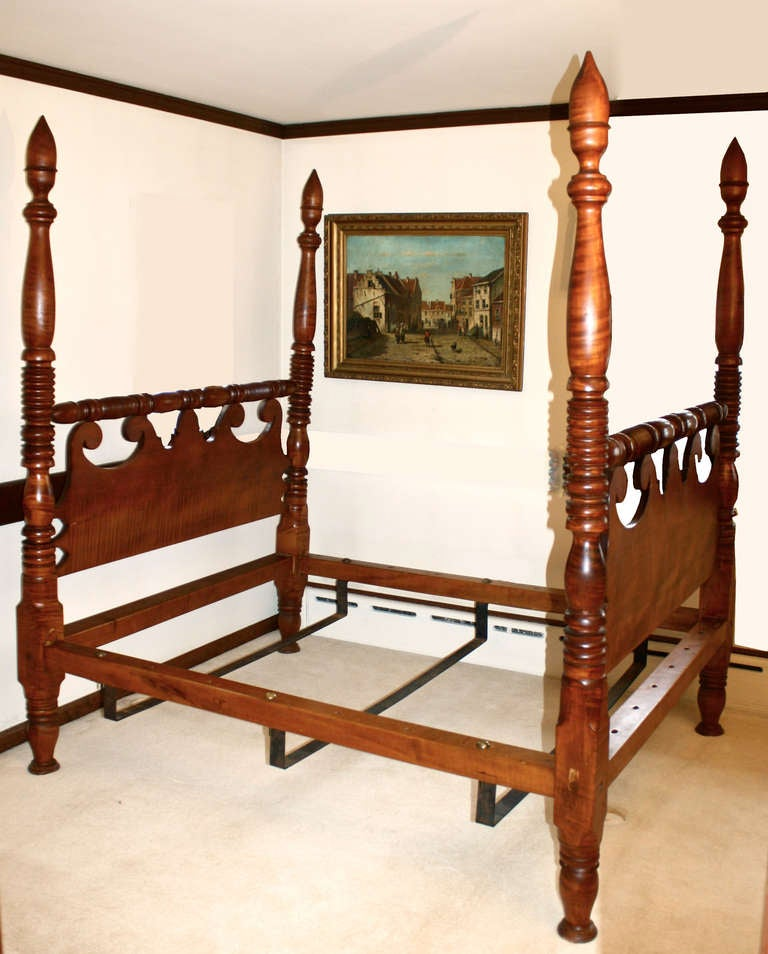 Sheraton Tiger Maple Four Poster Bed 2