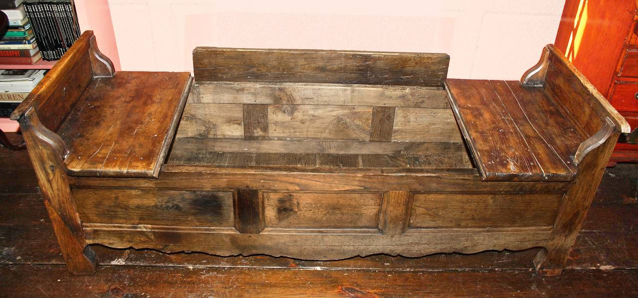 Louis XIV French Oak Coffered Bench For Sale
