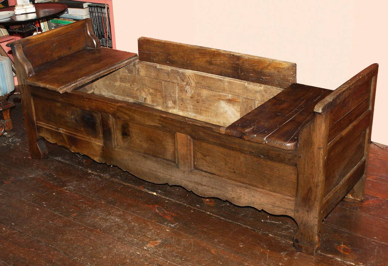 Hand-Crafted French Oak Coffered Bench For Sale