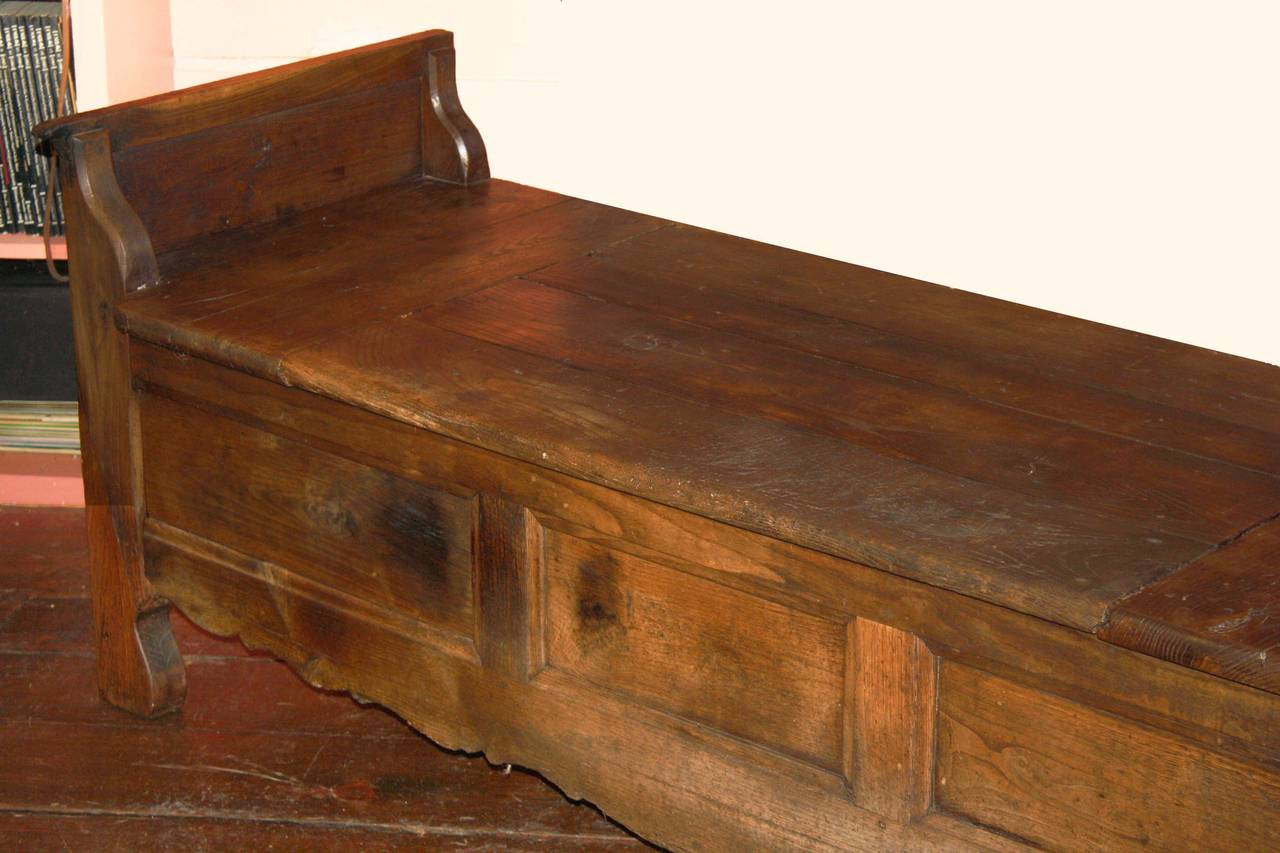 18th Century French Oak Coffered Bench For Sale