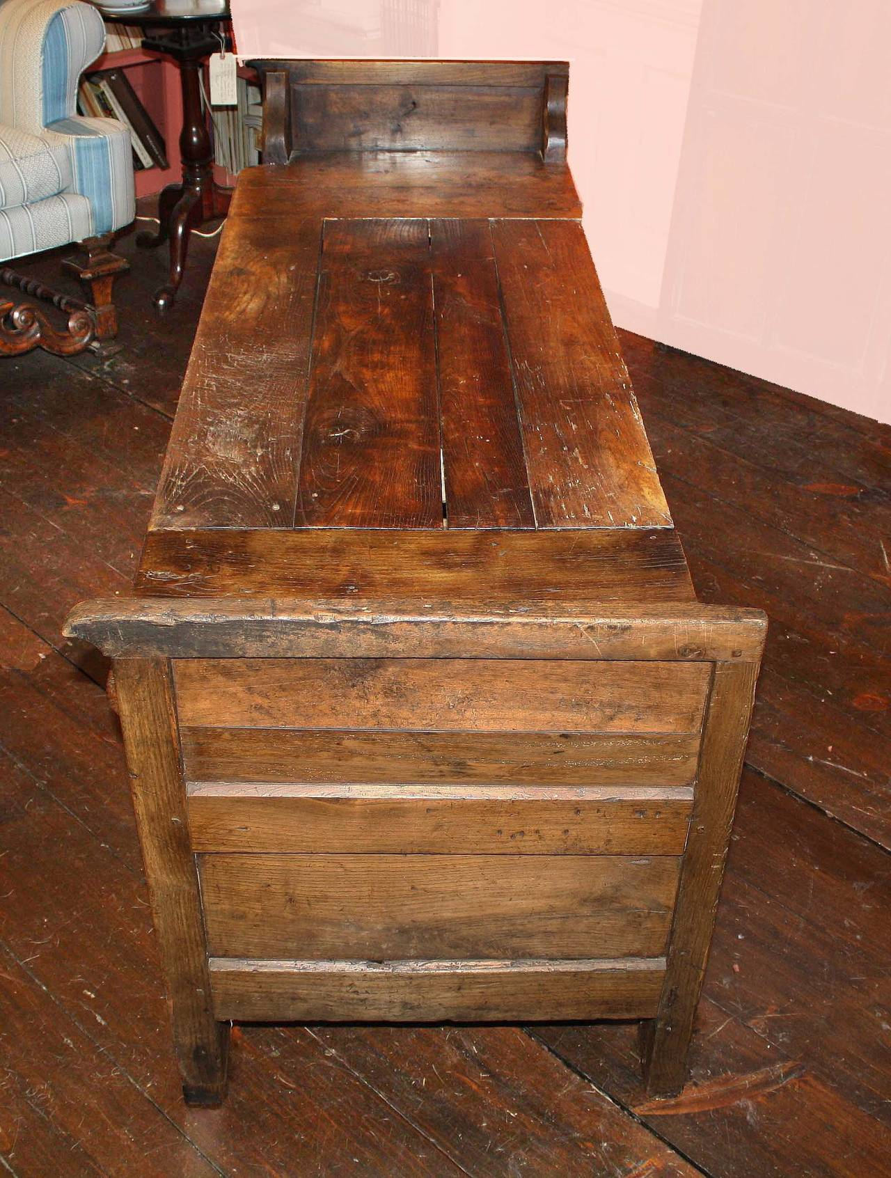French Oak Coffered Bench In Distressed Condition For Sale In Woodbury, CT