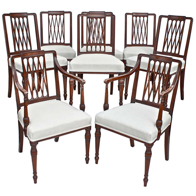 Set of 8 Sheraton Dining Chairs at 1stdibs