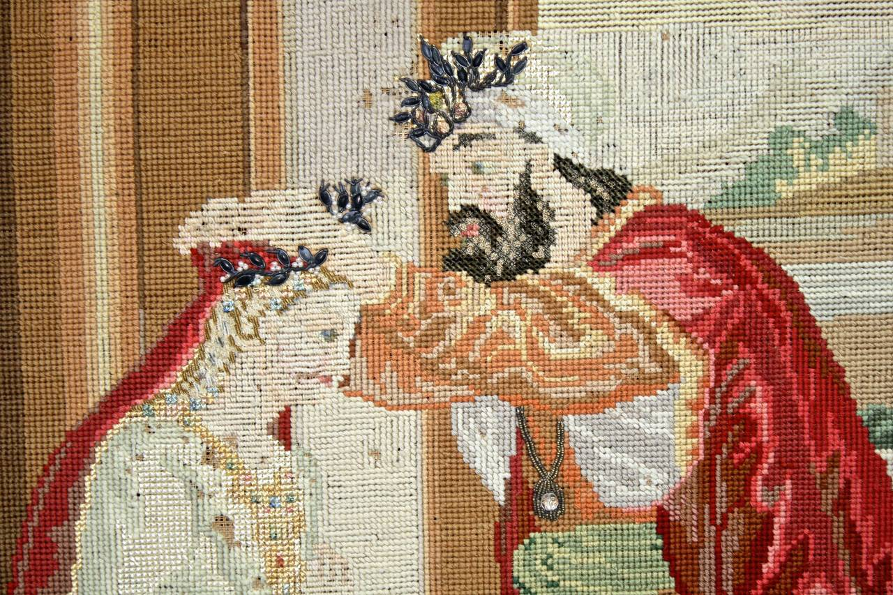 Hand-Crafted Ottoman Coronation Needlepoint Tapestry For Sale