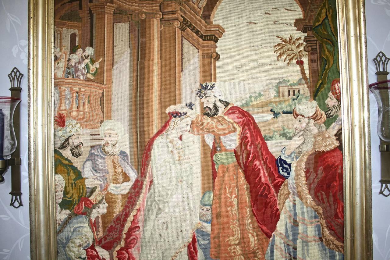 Byzantine Ottoman Coronation Needlepoint Tapestry For Sale