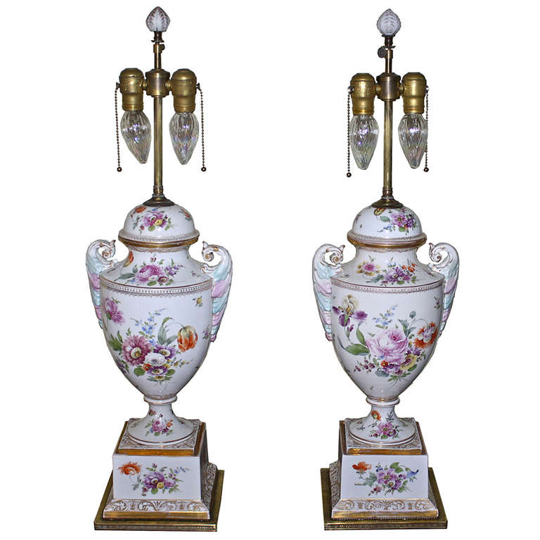 Paris Porcelain Hand Decorated Vase Fitted For Lamp Pia: PAIR Neoclassical Revival Dresden Porcelain Urn Lamps At