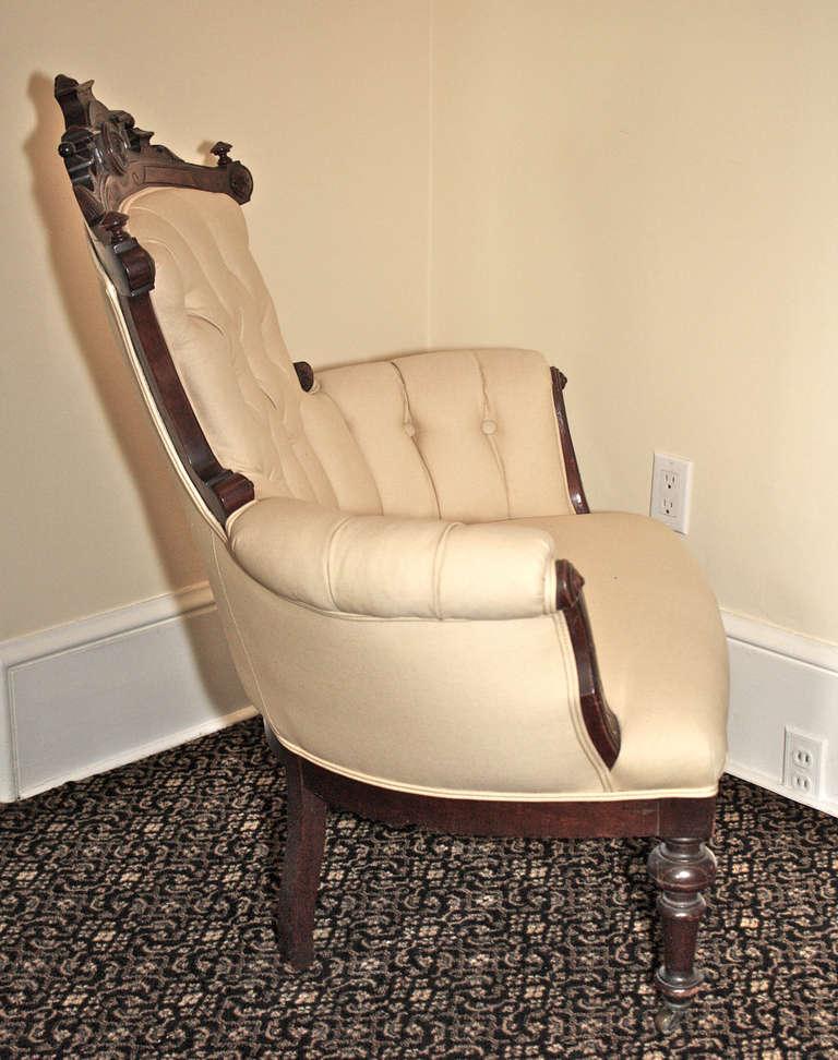American Rococo Revival John Jelliff Armchair For Sale